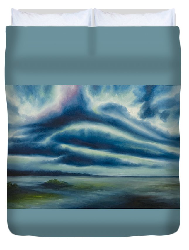 Sunrise; Sunset; Power; Glory; Cloudscape; Skyscape; Purple; Red; Blue; Stunning; Landscape; James C. Hill; James Christopher Hill; Jameshillgallery.com; Ocean; Lakes; Storm; Tornado; Lightning Duvet Cover featuring the painting East Storm Rising by James Christopher Hill