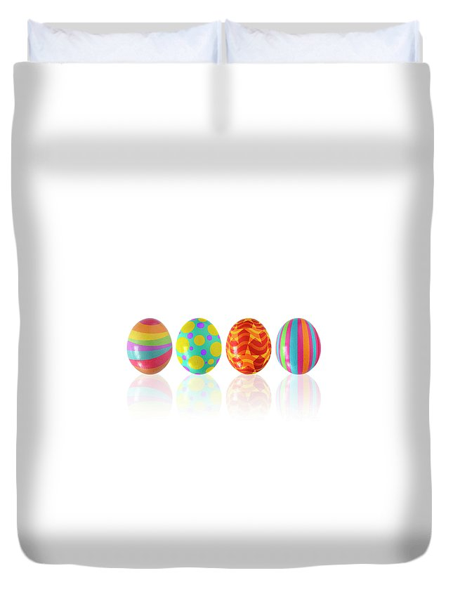April Duvet Cover featuring the photograph Easter Eggs by Carlos Caetano