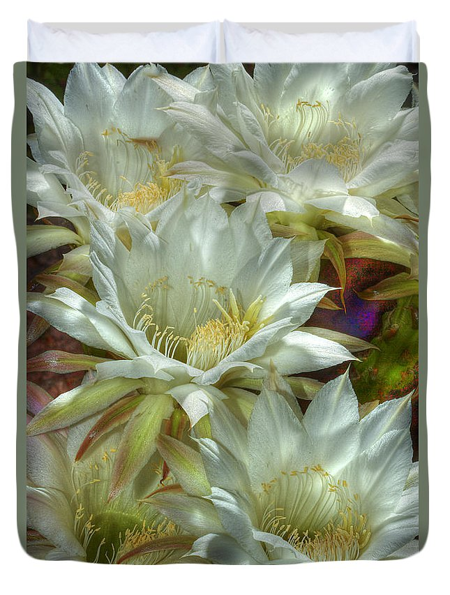 Flower Duvet Cover featuring the photograph Easter Lily Cactus Bouquet Hdr by Phyllis Denton
