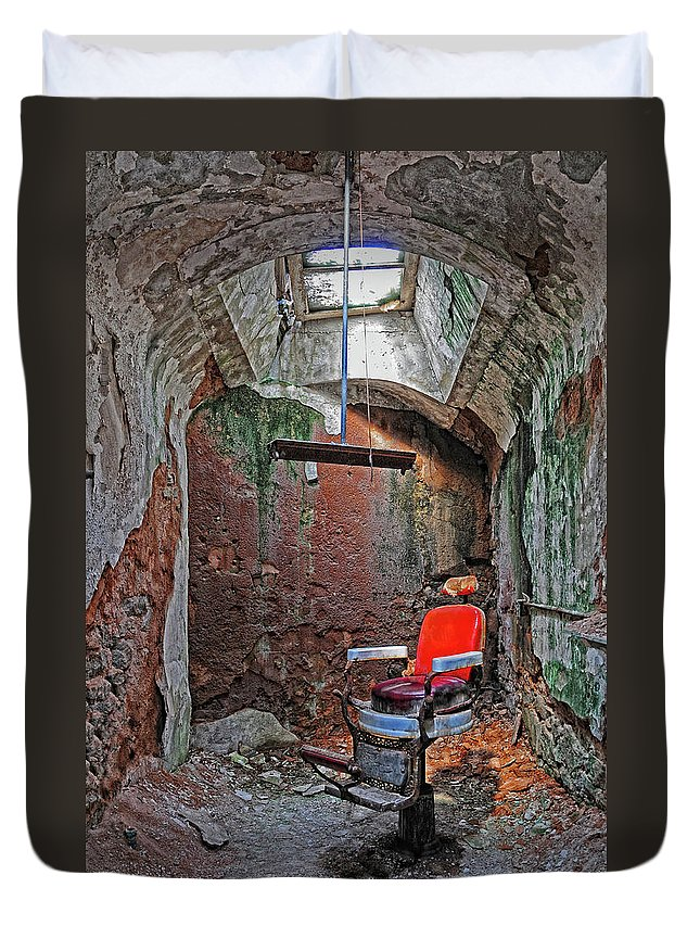 Eastern State Penitentiary Duvet Cover featuring the photograph Eastern State Penitentiary Barber Shop by Dave Mills