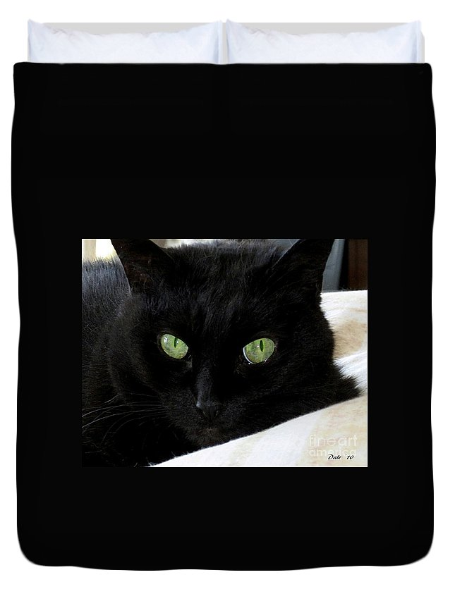 Cats Duvet Cover featuring the digital art Ebony by Dale  Ford