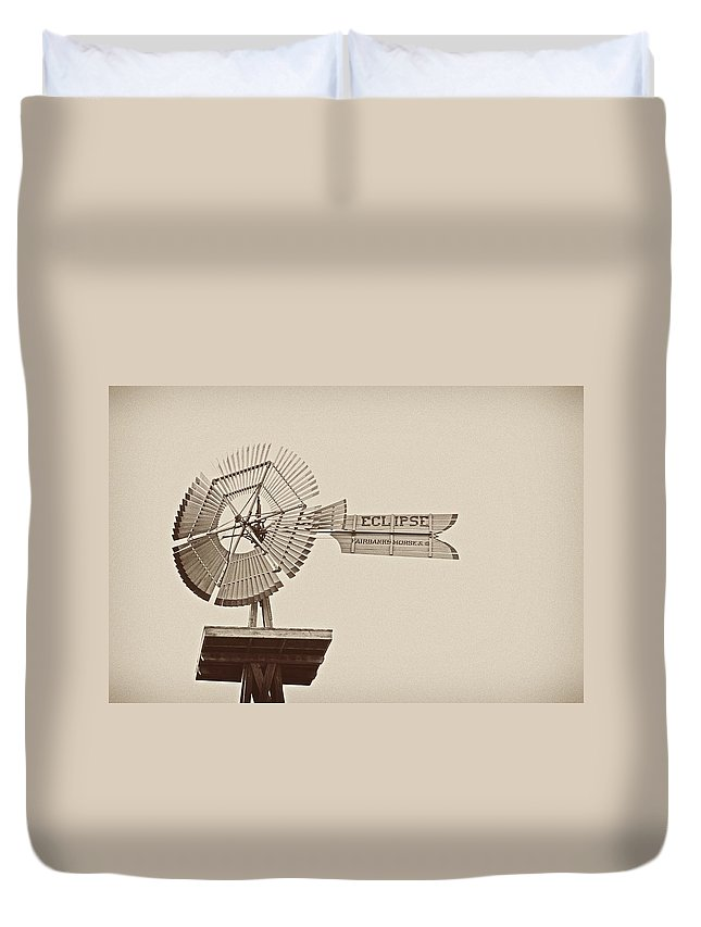 Windmill Duvet Cover featuring the photograph Eclipse Windmill 3578 by Michael Peychich