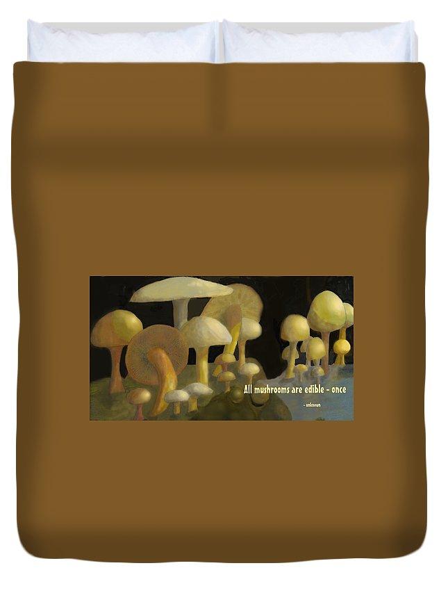 Mushrooms Duvet Cover featuring the digital art Edible Mushrooms by Ian MacDonald