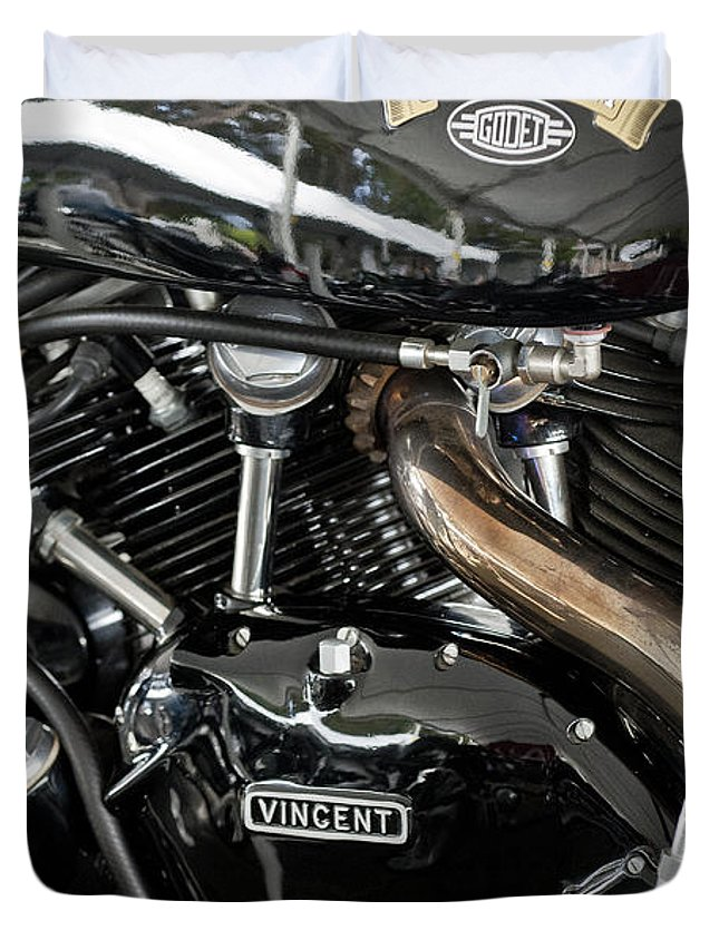Egli-vincent Godet Duvet Cover featuring the photograph Egli-vincent Godet Motorcycle by Jill Reger