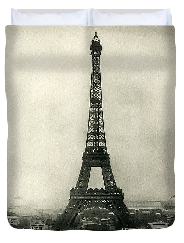 Eiffel Tower 1890 Duvet Cover featuring the photograph Eiffel Tower 1890 by Bill Cannon