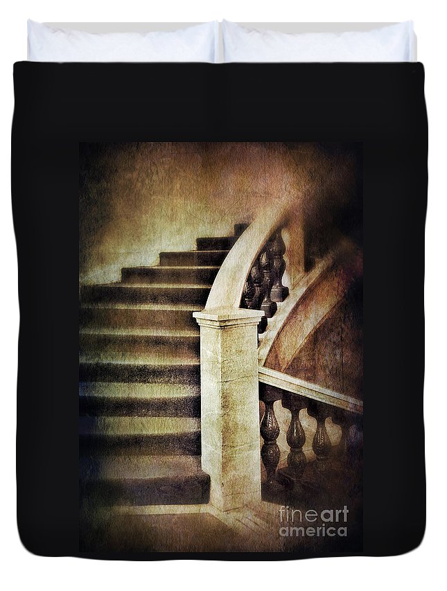 Stairs Duvet Cover featuring the photograph Elegant Staircase by Jill Battaglia