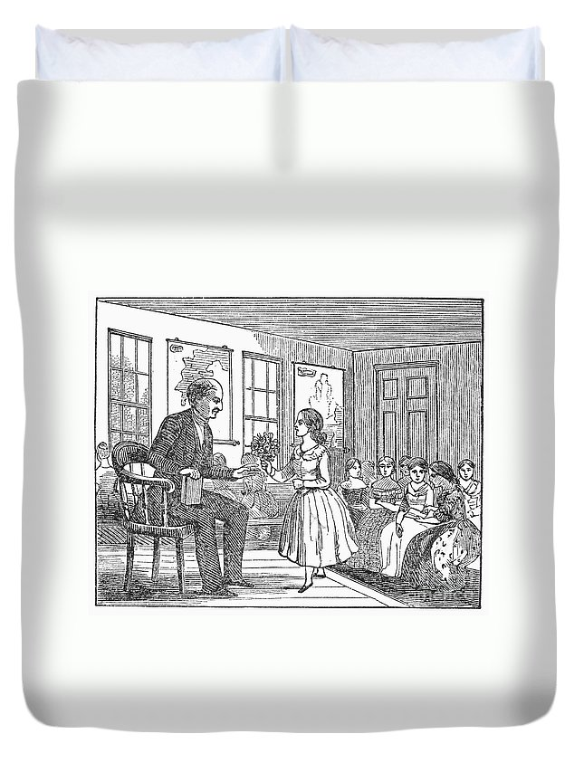 19th Century Duvet Cover featuring the photograph Elementary School, C1830 by Granger