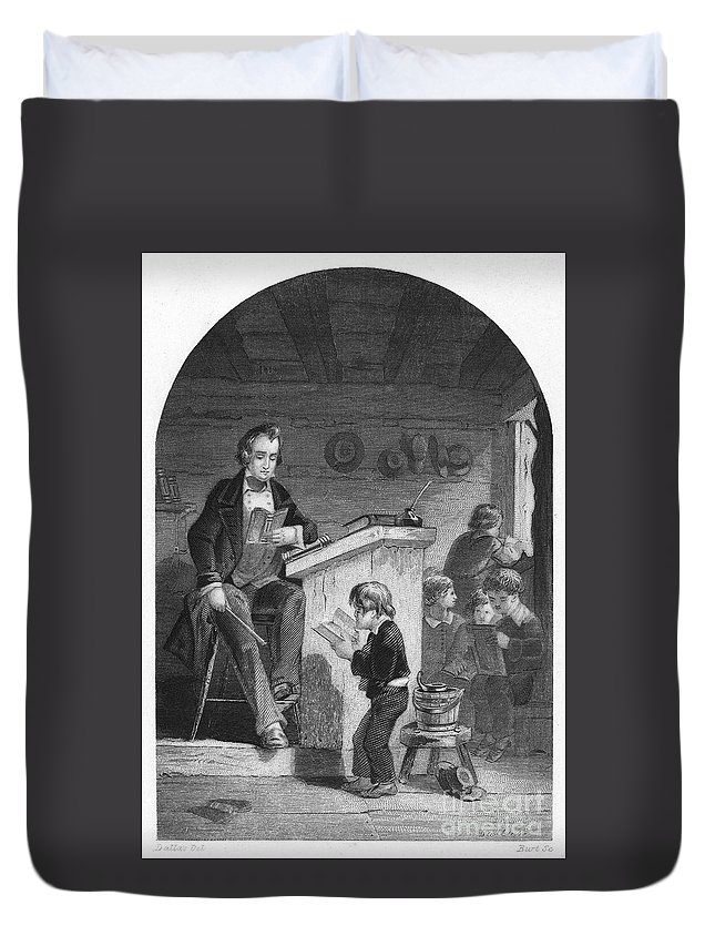 1840 Duvet Cover featuring the photograph Elementary School, C1840 by Granger