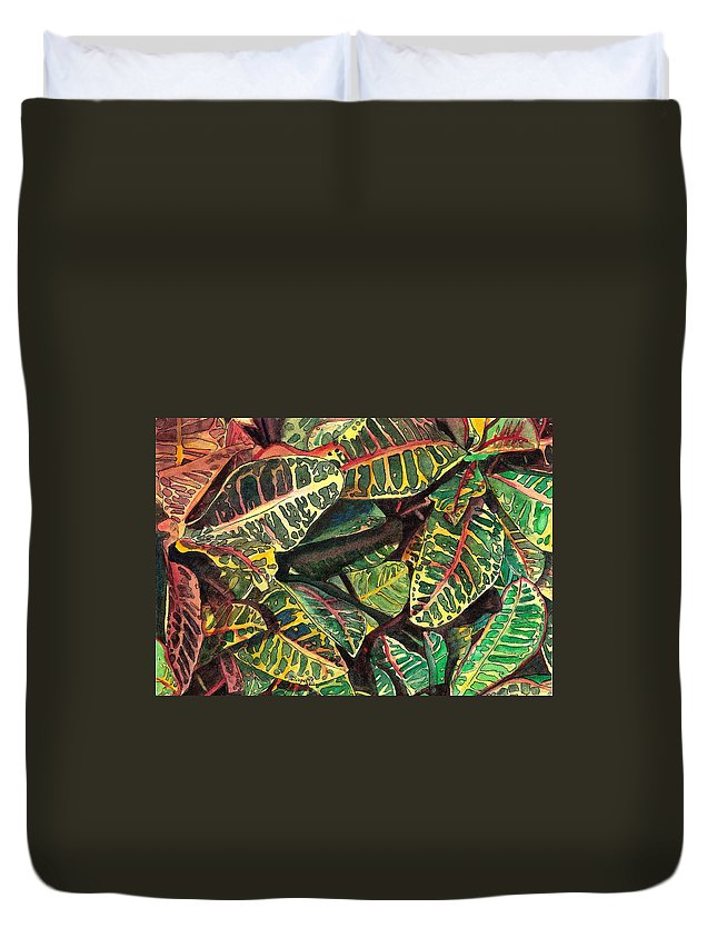 Croton Duvet Cover featuring the painting Elena's Crotons by Marionette Taboniar