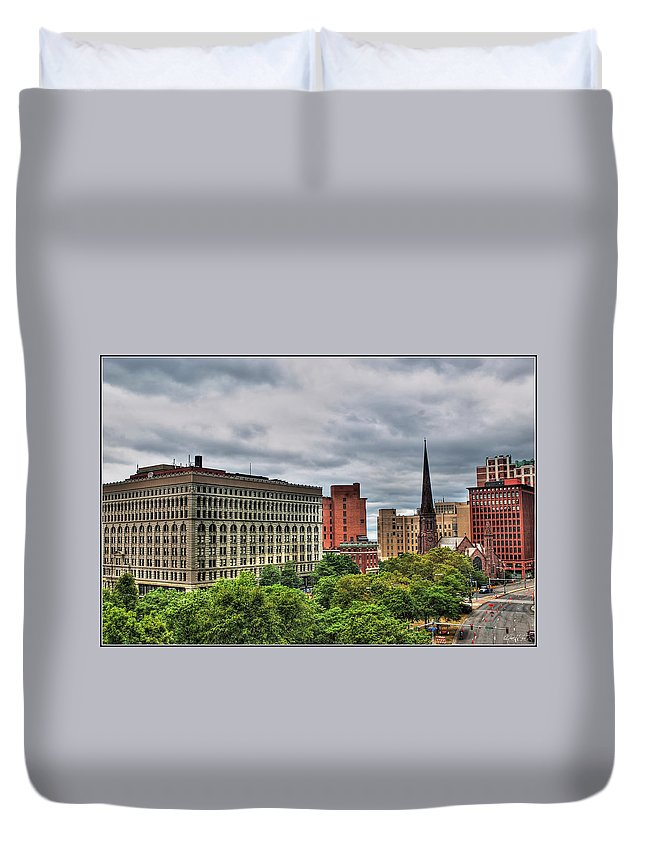 Duvet Cover featuring the photograph Ellicott Square Building   St. Joseph Cathedral   Prudential Guaranty Building by Michael Frank Jr