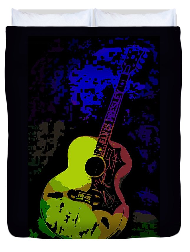 Elvis Duvet Cover featuring the photograph Elvis Gibson J200 Guitar by George Pedro