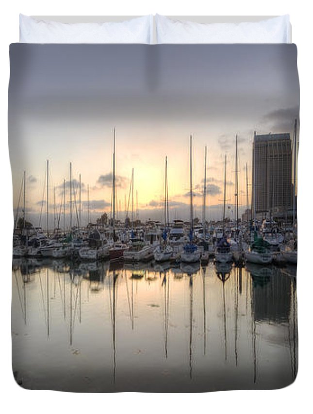 Art Duvet Cover featuring the photograph Embarcadero Marina  by Yhun Suarez