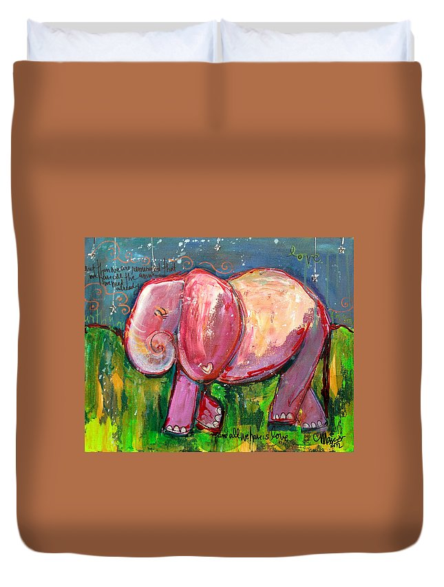 Pink Duvet Cover featuring the painting Emily's Elephant 3 by Laurie Maves ART
