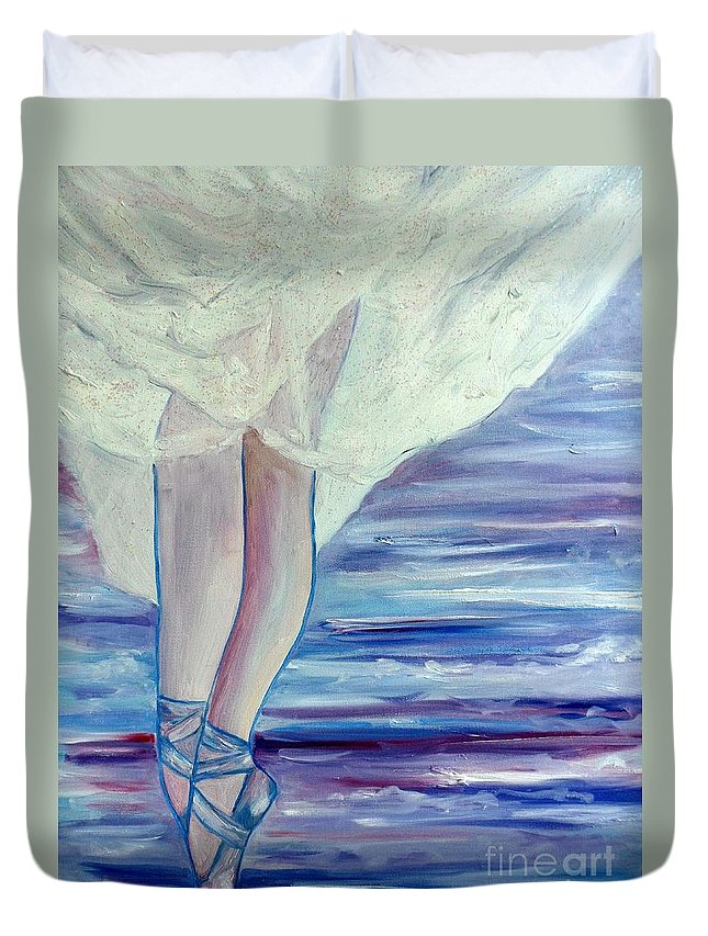 Ballet Duvet Cover featuring the painting En Pointe by Julie Brugh Riffey