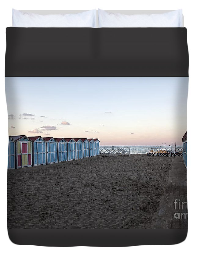 Beach Duvet Cover featuring the photograph End Of Day - Mondello Beach by Madeline Ellis