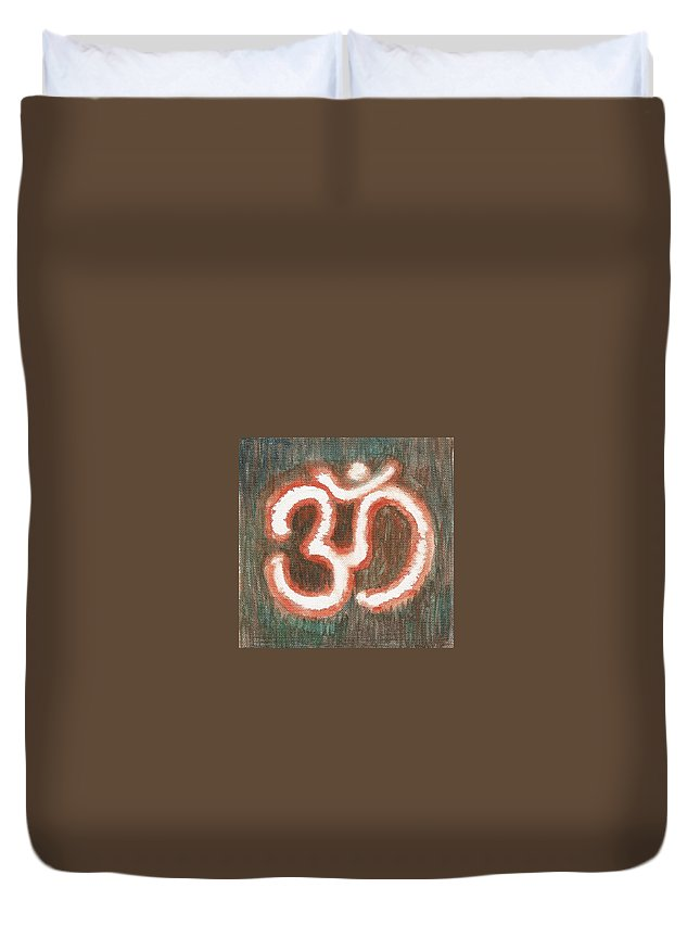 Om Duvet Cover featuring the painting Energy Symbol Om Aum by Chintaman Rudra
