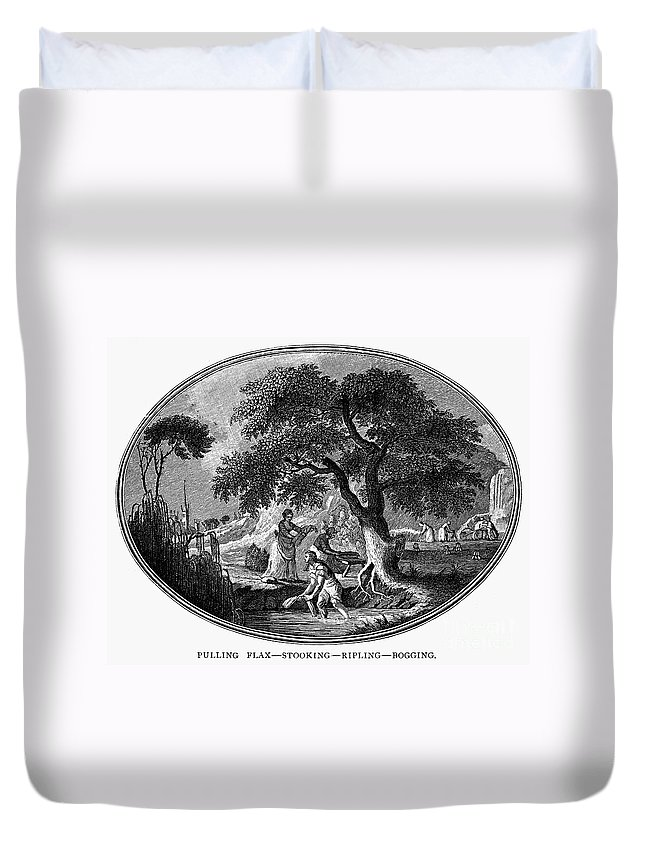 1800 Duvet Cover featuring the photograph England: Pulling Flax by Granger