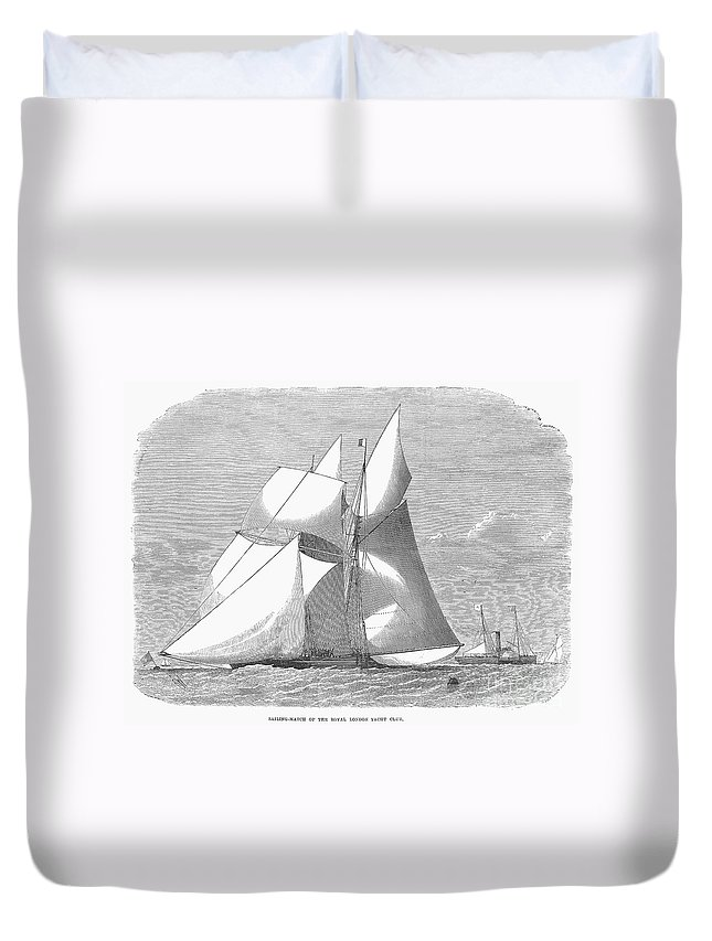1868 Duvet Cover featuring the photograph England: Yacht Race, 1868 by Granger