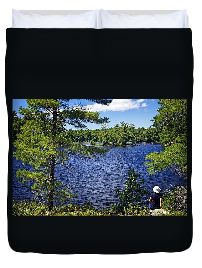 Bridges Duvet Cover featuring the photograph Enjoying The Lake by Phill Doherty