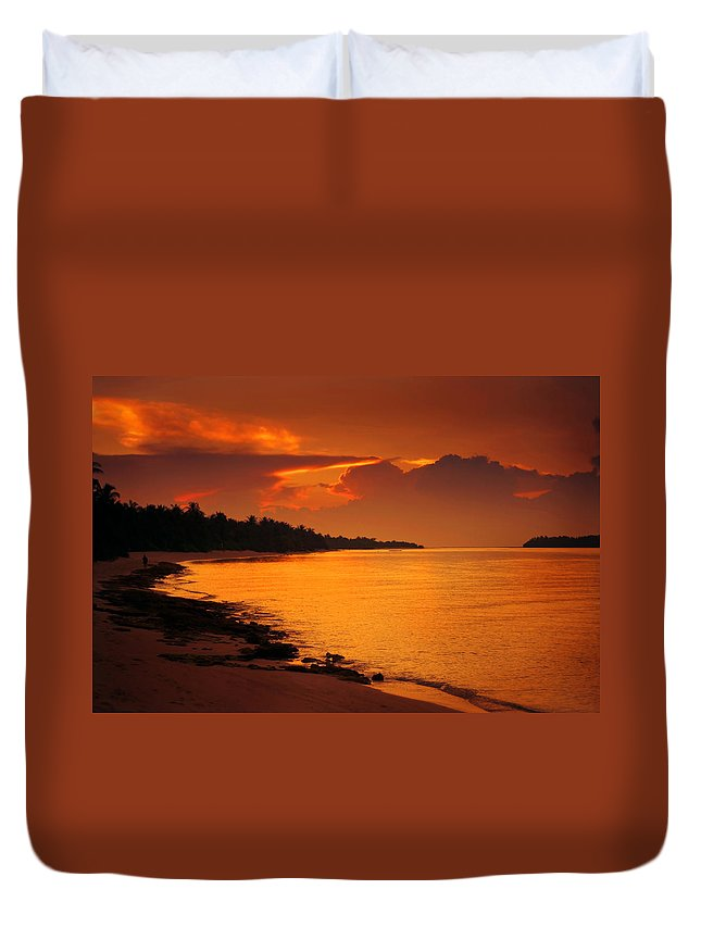 Maldives Duvet Cover featuring the photograph Epic Sunset In The Tropical Maldivian Island by Jenny Rainbow