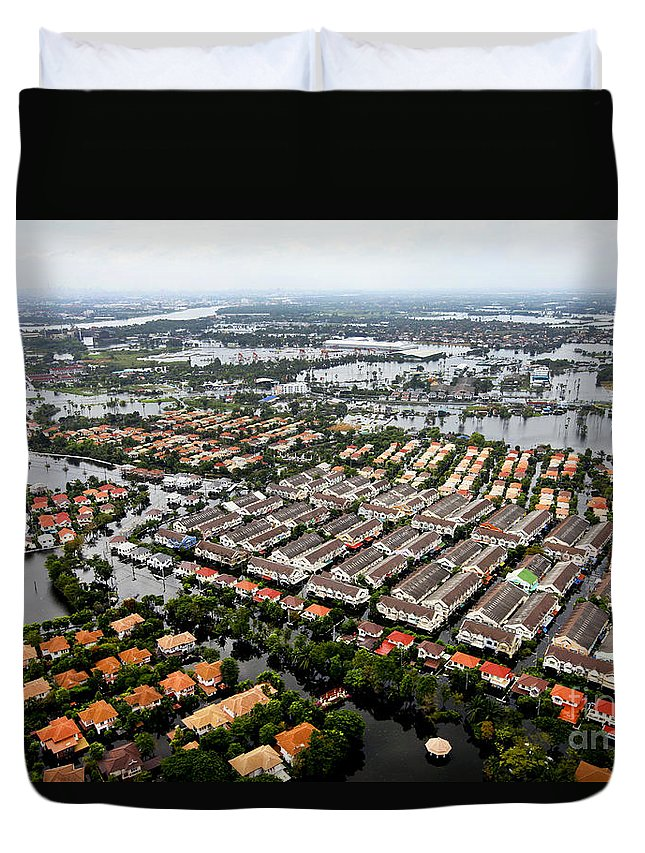 Destroy Duvet Cover featuring the photograph Erial View Of Flood Waters Affecting An by Stocktrek Images