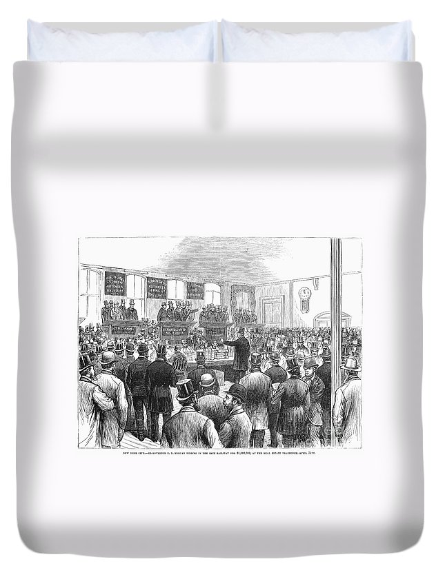 1878 Duvet Cover featuring the photograph Erie Railway Auction, 1878 by Granger