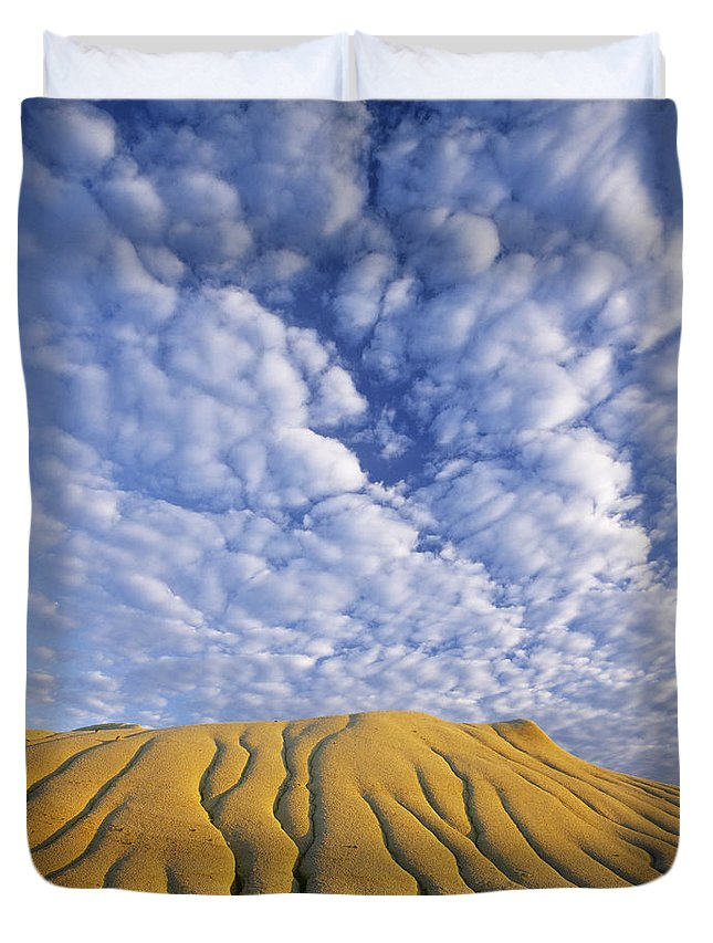 Light Duvet Cover featuring the photograph Erosion Channels On Rock, Red Deer by Darwin Wiggett