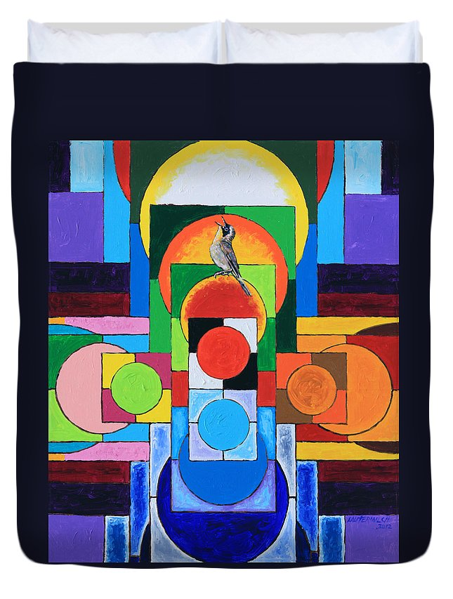 Abstract Duvet Cover featuring the painting Eternal Song Of The Seasons by John Lautermilch