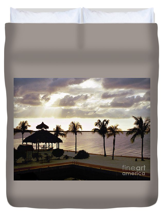 Evening Duvet Cover featuring the photograph Evening In The Keys - Key Largo by John Waclo