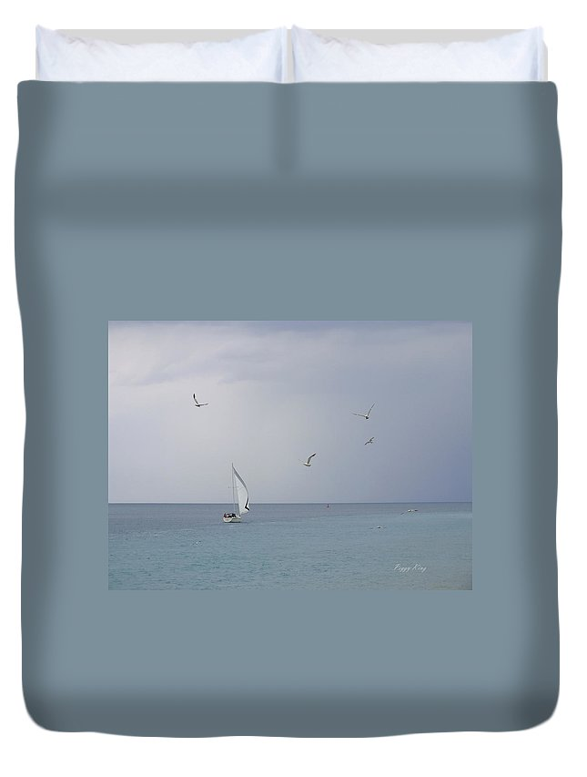 Lake Duvet Cover featuring the photograph Evening Sail by Peggy King