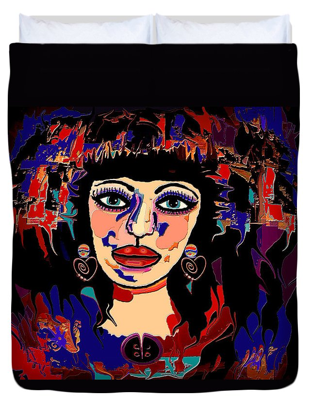 Woman Duvet Cover featuring the mixed media Exotic Woman by Natalie Holland