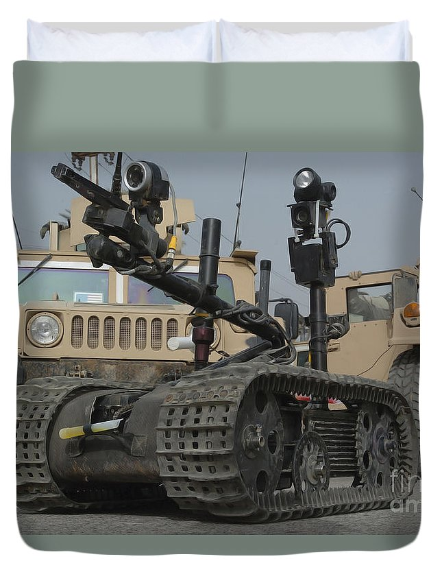 Us Navy Duvet Cover featuring the photograph Explosive Ordnance Disposal Robot Used by Stocktrek Images