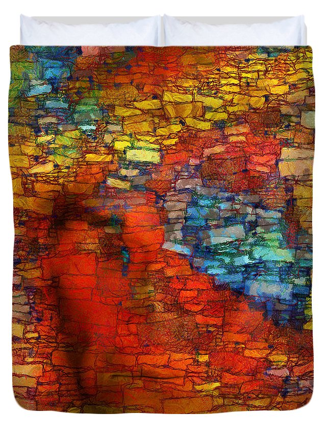 Figurative Abstract Digital Art Duvet Cover featuring the digital art Extrusion by RochVanh