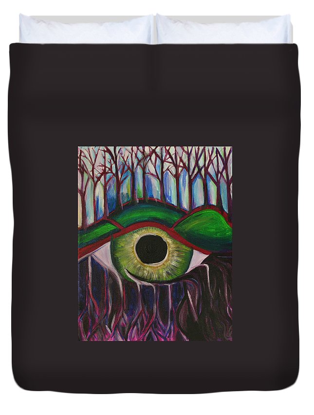 Eye Duvet Cover featuring the painting Eye In The Sky by Kate Fortin