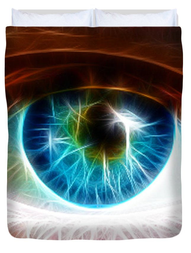 Blue Eyes Duvet Cover featuring the painting Eye by Paul Van Scott