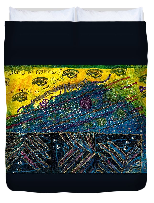Women Duvet Cover featuring the mixed media Eyes In The Sky by Angela L Walker