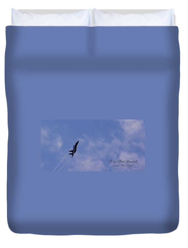 F-15 Duvet Cover featuring the photograph F-15 Flyover At Grants Pass Text Version by Mick Anderson