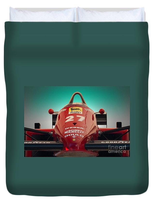Ferrari Duvet Cover featuring the photograph 1985 Ferrari 156/85 F1 Nose by Stuart Row