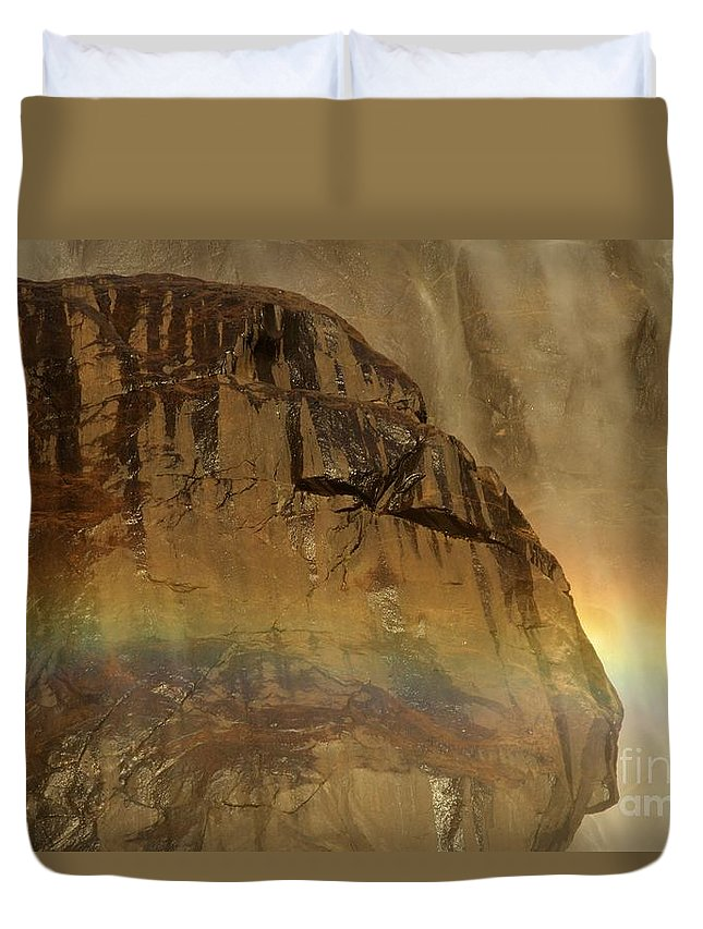 Yosemite National Park Duvet Cover featuring the photograph Face In The Rainbow by Adam Jewell