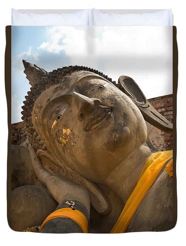Ancient Duvet Cover featuring the photograph Face Of A Reclining Buddha by U Schade