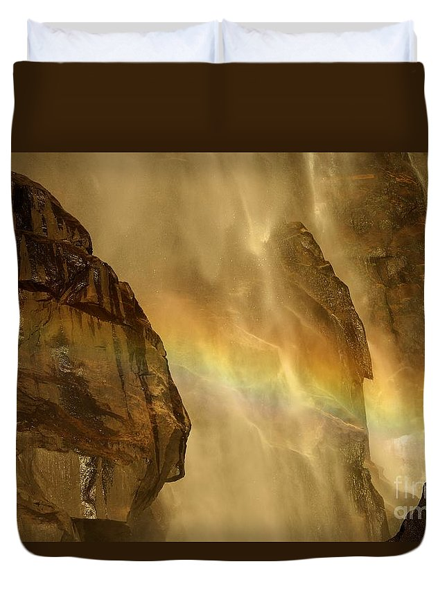 Yosemite National Park Duvet Cover featuring the photograph Faces In The Falls by Adam Jewell