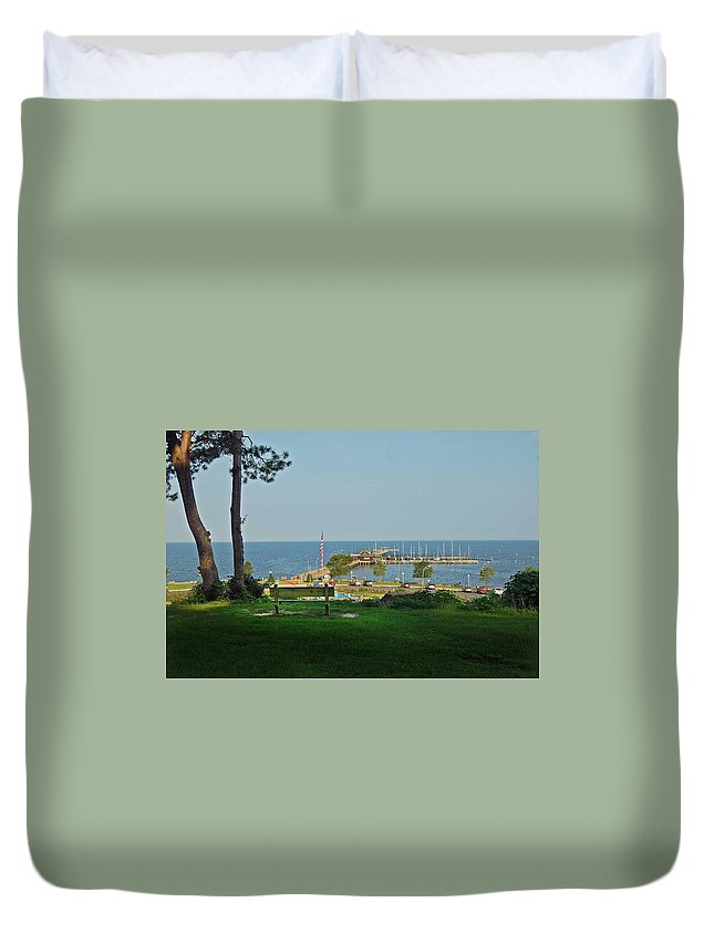 Alabama Photographer Duvet Cover featuring the digital art Fairhope Pier 2012 by Michael Thomas