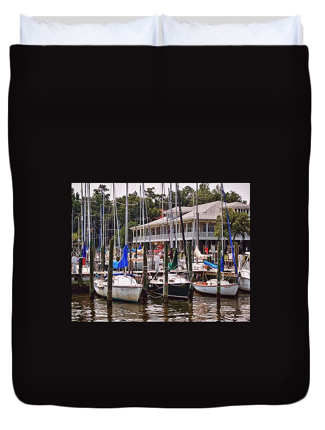 Alabama Photographer Duvet Cover featuring the digital art Fairhope Yacht Club Sailboat Masts by Michael Thomas