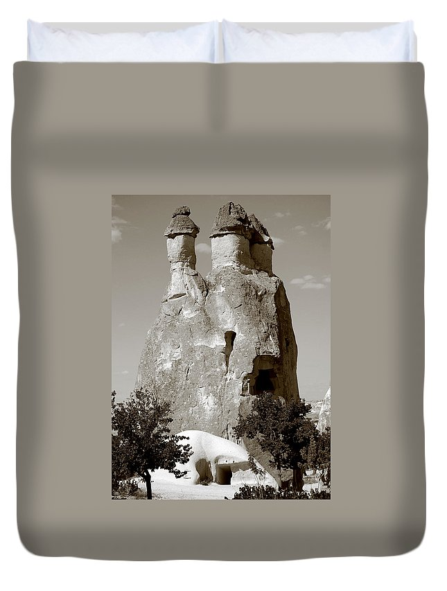 Fairy Chimney Duvet Cover featuring the photograph Fairy Chimney In Goreme by RicardMN Photography