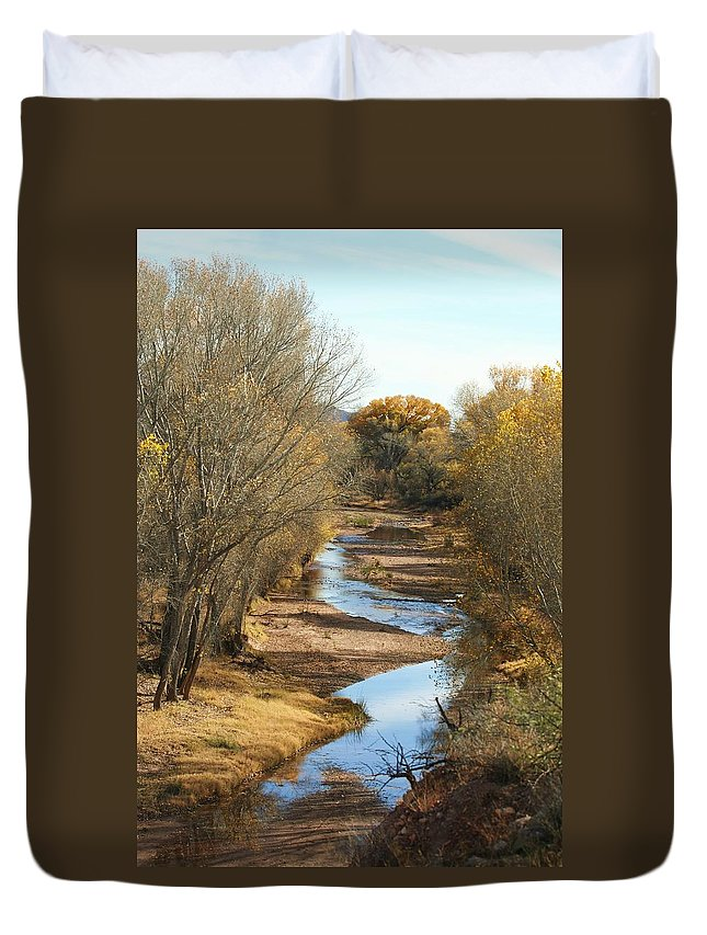 River Duvet Cover featuring the photograph Fal Fall Along The San Pedro 2011 by Michael C Crane