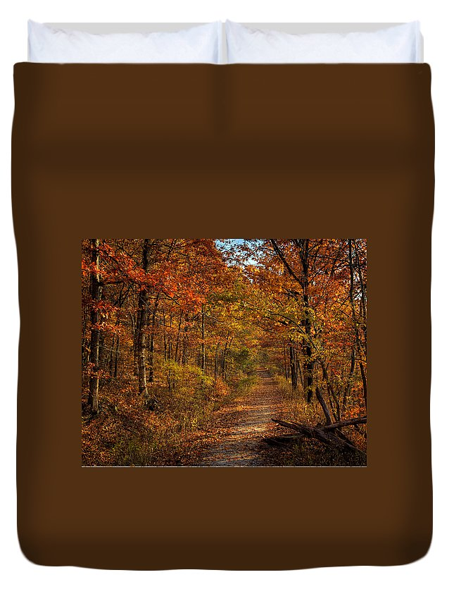 Center Point Trail Duvet Cover featuring the photograph Fall At Center Point Trailhead by Michael Dougherty