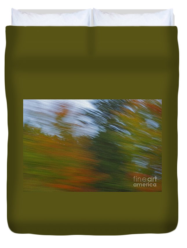 Texture Duvet Cover featuring the photograph Fall Blur by Elaine Mikkelstrup