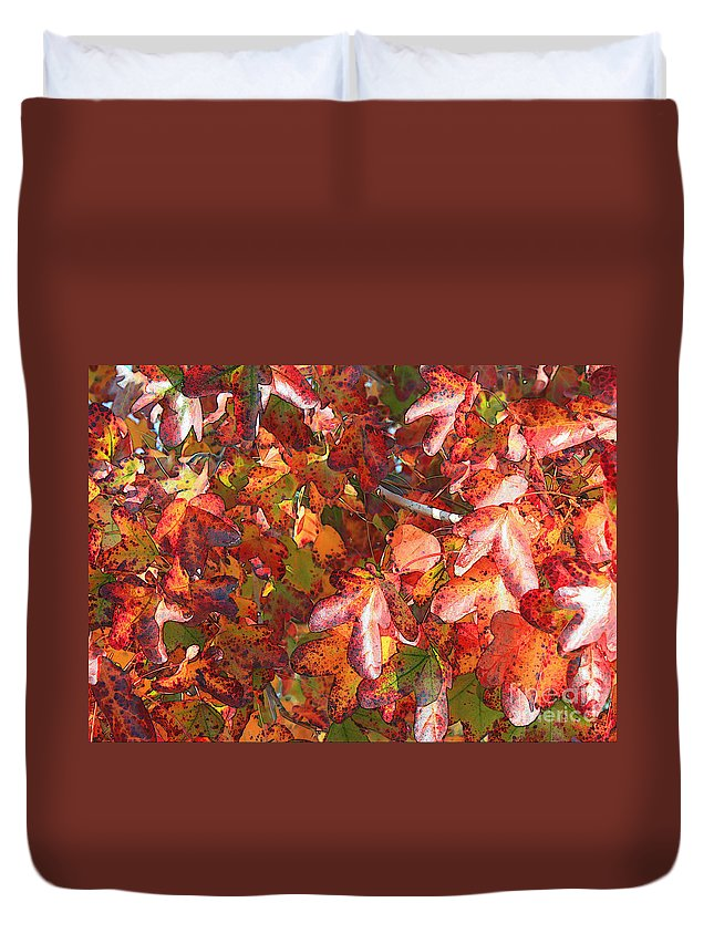 Fall Leaves Duvet Cover featuring the photograph Fall Leaves - Digital Art by Carol Groenen