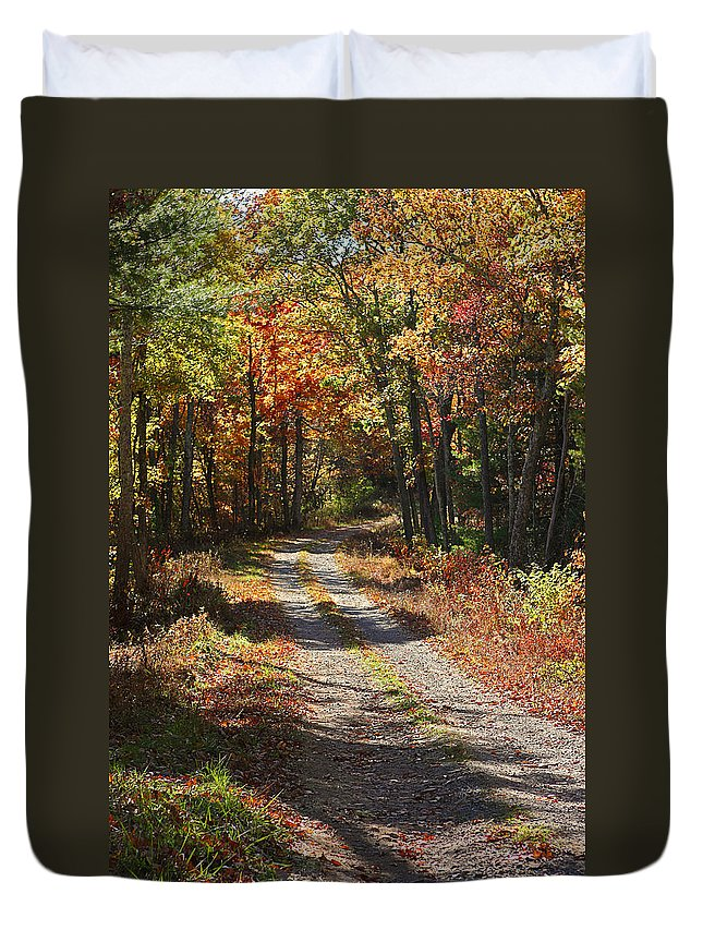 Autumn Duvet Cover featuring the photograph Fall On The Wyrick Trail by Denise Romano