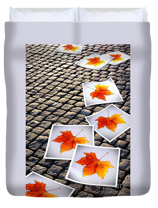 Abstract Duvet Cover featuring the photograph Fallen Autumn Prints by Carlos Caetano